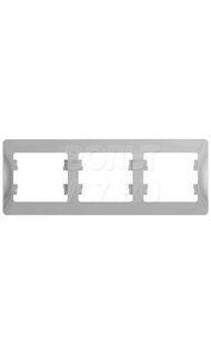 Рамка 3м гориз. алюминий Glossa Schneider GSL000303