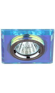 Светильник декор. стекло квадрат MR16 хром/перламутр ЭРА DK8 CH/PR
