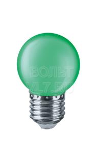 Лампа светодиодная 1Вт 230В зел. E27 G45 Navigator 71828 NLL-G45-1-230-G-E27