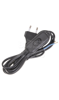 Шнур УШ-1КВ с выкл. 2х0,75 2м черный ИЭК WUP20-02-K01