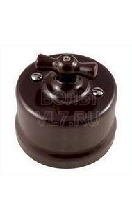 Переключатель 1кл. пластик коричневый Bironi В1-201-22