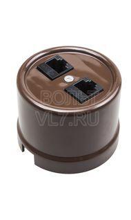 Розетка 2ая комп RG45 пластик коричневая Bironi B1-302-22