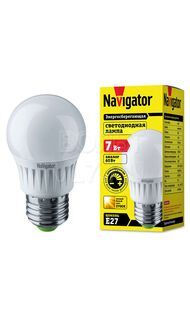 Лампа светодиодная шар E27 2700  7Вт Navigator