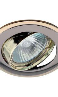 Светильник литой поворот. двойной контур MR16 сатин никель/золото ЭРА KL22А SN/G