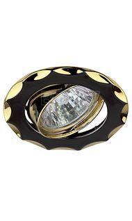 Светильник литой поворот. звезда MR16 черный металл/золото ЭРА KL12A GU/G